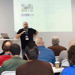William Bay leading an SEO talk at WordCamp Riverside 2018.